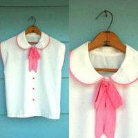 1980s. white button up with peterpan collar & pink bow. l