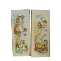 Vintage Wall Art - Bathing Frogs Bathroom Plaques by Coby - Decoupage on Wood