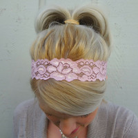 Blush pink stretch lace headband  feminine  by VintageBowBoutique
