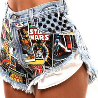 """STAR WARS"" SPIKED LIGHT BLUE STUDDED DENIM HIGH WAISTED SHORTS VINTAGE"
