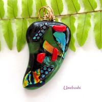 Hot Green Chili Pepper Dichroic Glass Pendant with Wire Wrapped Bail