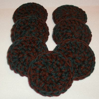 Hunter Green &amp; Burgundy Red Crochet Scrubbies - Handmade Set of 7