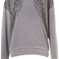 Wings Burnout Sweat - Jersey Tops - Clothing - Topshop USA