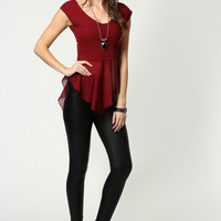 Hannah Chiffon Fishtail Peplum Top
