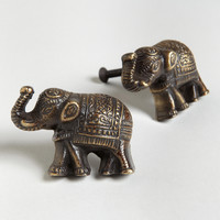 Antique Brass Elephant Knobs, Set of 2 - World Market