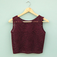 Burgundy Lace Crop Top By Kee Boutique