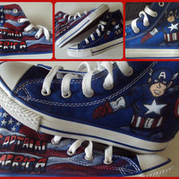Captain America Converse hand painted