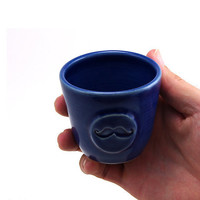 Mustache Cup:  Blue Ceramic Rum Cup, Shot Glass, Cool Gift for Men, Unique Valentine's Day by MiriHardyPottery
