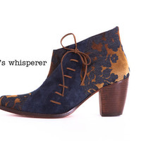 Forest's Whisperer - Handmade jean/suede booties with decorative laces - Made to order - 30 % OFF
