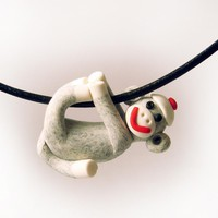Gray Sock Monkey Pendant Swinging From All Fours Handmade In Polymer Clay | Luulla