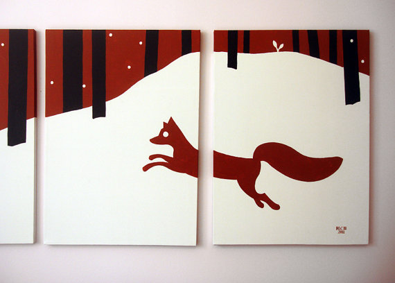 Fox Paintings Red White & Black Winter Forest 18 x by rickycolson