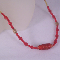 Red and Gold Glass Beaded Choker