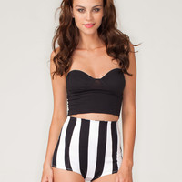 Motel Hilly Hot Pant in Black and White Stripe