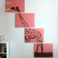 Giraffe Paintings in Pink, Brown, & White 18 x 24 (Set of 4)