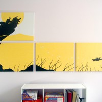 Turtle Paintings in Yellow, White, & Black 18 x 24 (Set of 4)
