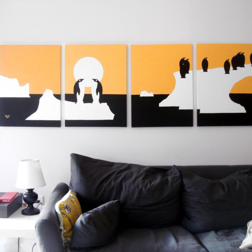 Penguin Paintings in Orange, White & Black 18 x 24 (Set of 4)