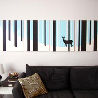 Deer Paintings in Blue, White, & Black 18 x 24 (Set of 4)