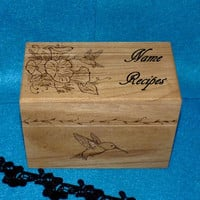 Recipe Box- Wood Burned, Wood Recipe Box, Hummingbird, Morning Glory, Vintage Style, Decorative Wood Box, Burned, Rustic, Bridesmaid Gift