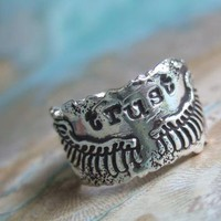 Commitment Ring, Lovers Jewelry, Wedding Band, Trust, in Fine Silver