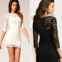 Women's Black White Lace...