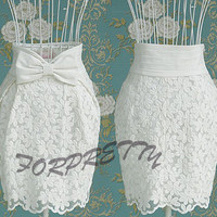 Women Tulip High-Waisted Career Embroidered bow Skirt White