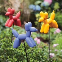 Set Of 3 Balloon Dog Resin Garden Stakes - Plow & Hearth