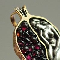 POMEGRANATE silver and bronze garnet pendant RESERVED for Brittany - 3rd payment