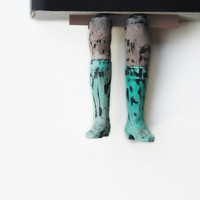 Legs in the book Turquoise boots Unusual art by MyBookmark on Etsy