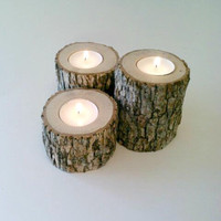 Log Candle Holders, Oak Candle Holders, Rustic Tea Light Candle Holder Centerpiece, Log, Wedding Centerpiece, Patio