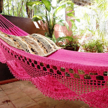 Fuchsia pink hammock, Double Hammock hand-woven Natural Cotton Simple Fringe