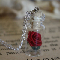 ON SALE Beauty and the Beast Rose Vial Necklace  by spacepearls