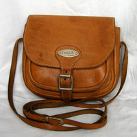 Vintage Caramel Brown Distressed Leather Boho Cross Body Purse Gabrielle Paris Bag
