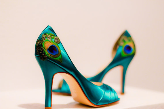 Teal Satin Pleated Peep Toe Peacock Pumps  ANY by LaPlumeEthere