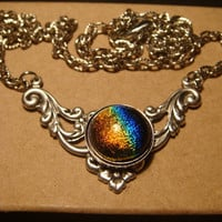 Victorian Style Dichroic Glass Necklace in Antique Silver (920)