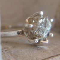 Rough Diamond Ring Solitaire Engagement Ring by EnzoLuccati