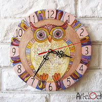 The pink owl Wall Clock Home Decor for Children Baby by ArtClock
