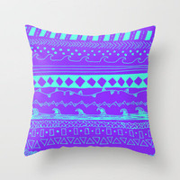 Simple Pattern PURPLE/AQUA Throw Pillow by Kayla Gordon | Society6