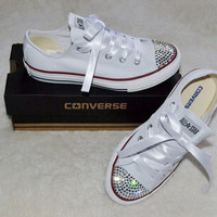 Custom Crystal White Low Top All Star Converse Blinged Crystal Toes, Ribbon Laces Child UK Size 3, 4, 5, 6, 7, 8, 9, 10, 11, 12, 13, 1, 2