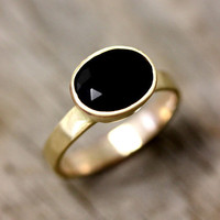 $698.00 14k Gold And Black Spinel Ring Gemstone and by onegarnetgirl
