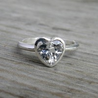 $218.00 White Topaz & Sterling Heart Ring Made To Order by onegarnetgirl