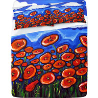 Renie Britenbucher Red Poppy Field Sheet Set