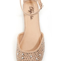 Paprika Jake Oatmeal Rhinestone and Spike Studded Flats
