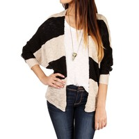 Black/Oatmeal Striped Open Sweater