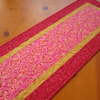 Quilted Table Runner Gold Hearts - $34.00 - Handmade Crafts by PatchworkMountain