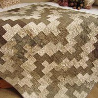 Neutral Zig Zag Modern Contemporary Lap or Wall Quilt by PatchworkMountain on Zibbet