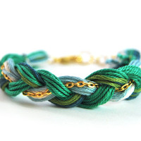 Emerald green friendship bracelet, green braid bracelet with gold plated chain