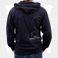 Men Hoodie Fly Fishing ZipUp Midweight Navy by mediumcontrol