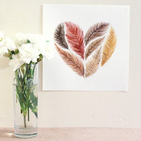 20x20cm Original Watercolour Feather Illustration by WaterFeathers