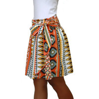 Spring Fashion Skirt / Colorful Tribal Orange Mini Skirt with Sash Belt / Ready to Ship