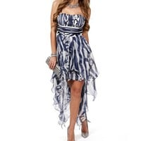 Jennifer-Navy Printed Prom Dress